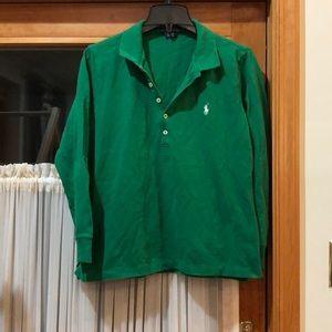 Green 3/4 Sleeve Polo Ralph Lauren Shirt